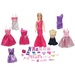 INTERNATIONAL - Mega fantasy bambola fashion con set di 50 accessori