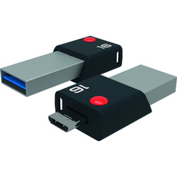 Emtec - Mobile & Go 16GB, 16 GB, 3.0 (3.1 Gen 1), Numero di grucce, 80 MB/s, Lamina di scorrimento, Nero, Argento