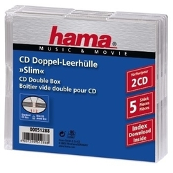 Hama - CD Slim Double Jewel Case, pack 5, 2 dischi, Trasparente