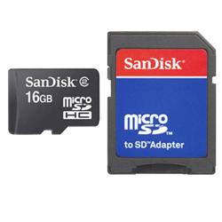 Sandisk - microSD Card 16GB + Adapter, 16 GB, MicroSD, Nero