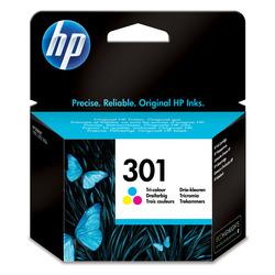HP - Cartuccia originale inchiostro tricromia 301, Ciano, Magenta, Giallo, HP Deskjet 1000, 1050, 1050se, 2000, 2050, 2050se, 3000, 3050, 3050se, 3050ve, Deskjet 1050A,..., Ad inchiostro, Tricolore, 3 ml, 20 - 80%