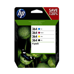 HP - HP Confezione da 4 cartucce originali di inchiostro nero/ciano/magenta/giallo 364, HP, N9J73AE, Nero, Ciano, Magenta, Giallo, HP Photosmart D5460 HP Photosmart B8550 HP Photosmart Premium Fax (CC335B) HP Photosmart C6380..., Resa standard, 6 ml