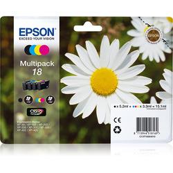 Epson - Multipack t18, Nero, Ciano, Magenta, Giallo, Epson - XP-30 / XP-102 / XP-202 / XP-205 / XP-302 / XP-305 / XP-402 / XP-405, Ad inchiostro, Resa standard, 4 pezzo(i), 192 x 141,75 x 45 mm