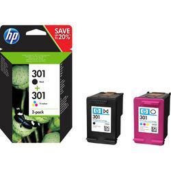 HP - Confezione da 2 cartucce originali di inchiostro nero/tricromia 301, Nero, Ciano, Magenta, Giallo, HP, HP DeskJet 1000 Printer series - J110; HP DeskJet 1050 All-in-One Printer series - J410; HP..., N9J72AE, Ad inchiostro, 3 ml