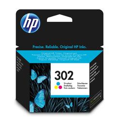 HP - Cartuccia originale inchiostro tricromia 302, Ciano, Magenta, Giallo, Deskjet 1110, Deskjet 2130 AiO, Deskjet 2132 AiO, Deskjet 2134 AiO, Deskjet 3630 AiO, Officejet..., Ad inchiostro, Resa standard, 4 ml, 165 pagine