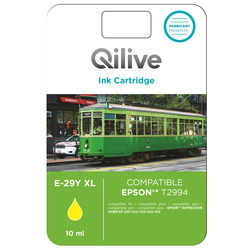 Qilive - E-29Y XL, Giallo, Epson, Expression Home XP-235, 332, 335, 432, 435, T2994, Ad inchiostro, Resa elevata (XL)
