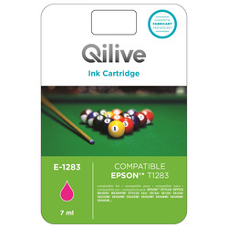 Qilive - E-1283, Magenta, Epson, Stylus Office BX305F, BX305FW, STYLUS S22, SX125, SX130, SX230, SX235W, SX420W, SX425W, SX435W,..., T1283, Ad inchiostro, Resa standard