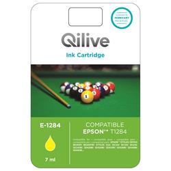 Qilive - E-1284, Giallo, Epson, Stylus Office BX305F, BX305FW, STYLUS S22, SX125, SX130, SX230, SX235W, SX420W, SX425W, SX435W,..., T1284, Ad inchiostro, Resa standard