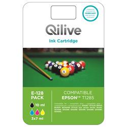 Qilive - E-128 Pack, Nero, Ciano, Magenta, Giallo, Epson, Stylus Office BX305F, BX305FW, Stylus S22, SX125, SX130, SX230, SX235W, SX420W, SX425W, SX435W,..., T1285, 10 ml, 7 ml