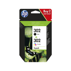 HP - Confezione da 2 cartucce d'inchiostro nero/tricromia originali 302, Nero, Ciano, Magenta, Giallo, HP, HP DeskJet 1110; HP DeskJet 2130; HP DeskJet 3630; HP OfficeJet 3830; HP OfficeJet 4650; HP ENVY..., X4D37AE, Ad inchiostro, 190 pagine