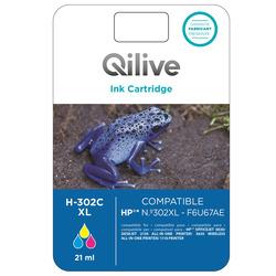Qilive - H-302C XL, Ciano, Magenta, Giallo, HP, Officejet 3830, Deskjet 2130, 3630, 1110, F6U67AE, Ad inchiostro, Resa elevata (XL)