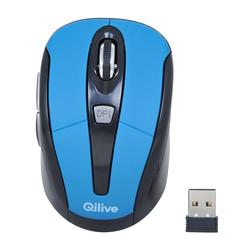Qilive - Q.8627, Ambidestro, Ottico, RF Wireless, 1600 DPI, Nero, Blu