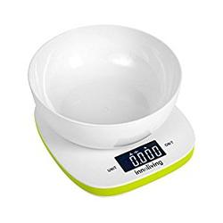 Innoliving - INN-132G, Bilancia da cucina elettronica, 5 kg, 1 g, Verde, Bianco, Plastica, Plastica