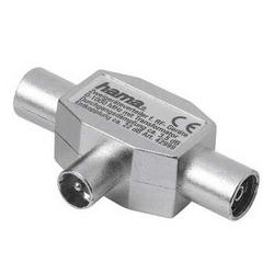 Hama - Antenna Distributor Coaxial Male Plug - 2 Coaxial Female Jacks, Maschio/Femmina