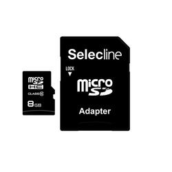 Selecline - 3245676510904, 8 GB, MicroSDHC, Classe 10, 20 MB/s, Nero