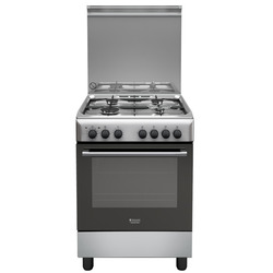 Hotpoint - H64MH2AF (X) IT, Piano cottura, Acciaio inossidabile, Manopola, Acciaio inossidabile, Frontale, Gas