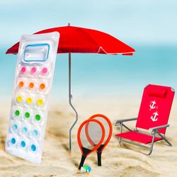 Q.BO. - SET MARE: spiaggina Marina + set racchette + 1 ombrellone + 1 materassino + 1 spiaggina Marina GRATIS