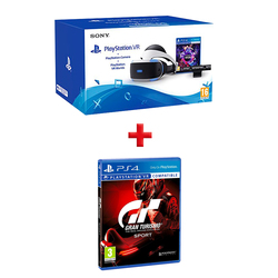 Sony - PlayStation VR + PlayStation Camera + PlayStation VR Worlds + PS4 - Gran Turismo Sport