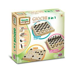 GRANDI GIOCHI - Dama + Scacchi In Legno 30X30