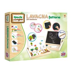 GRANDI GIOCHI - Lavagna Legno 2 In 1 Fattoria