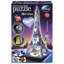 RAVENSBURGER - Tour Eiffel Disney - Puzzle 3D Building Night Edition