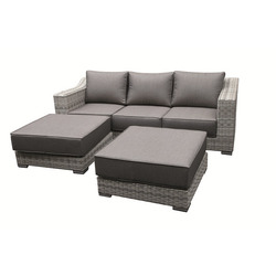 GARDEN STAR - Set Sofa Wick.Div+2 Pouf Beige