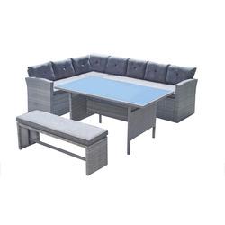 GARDEN STAR - Set Sofa 4Pz Divano ad angolo + Panca + Tavolo