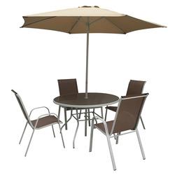 GARDEN STAR - Set Tavolo 60Cm+ Ombrellone +4 Sedie Muscade