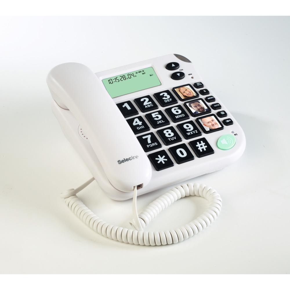 848058, Telefono analogico, Cornetta cablata, Telefono con vivavoce, 10 voci, Identificatore di chiamata, Bianco
